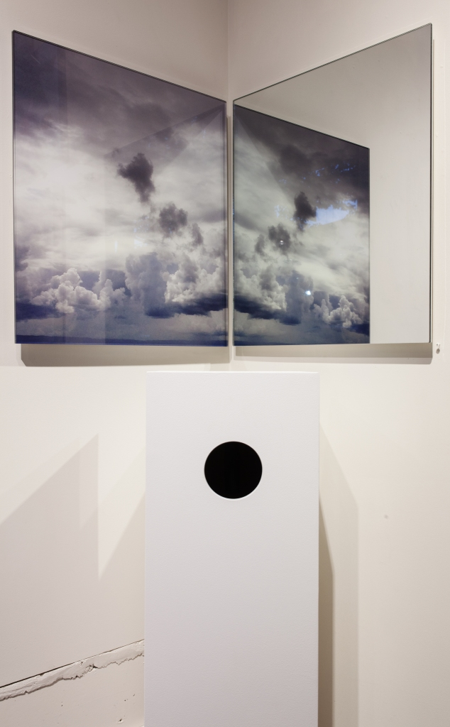 """Étant Donnés (1. The Waterfall) An Homage to Marcel Duchamp"", pedestal, mirror, submounted plexi, gun"